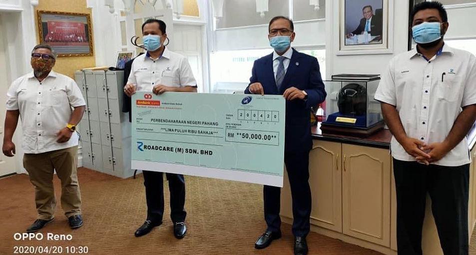 ROADCARE TELAH MENGHULURKAN BANTUAN BERJUMLAH RM50,000 UNTUK TABUNG COVID-19 NEGERI PAHANG